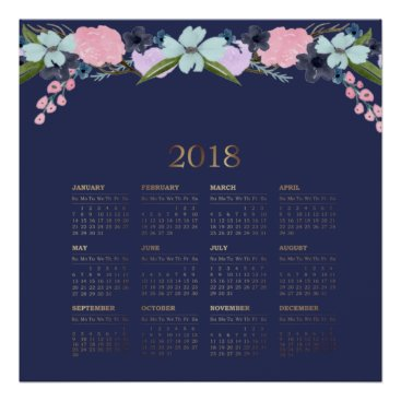 Art Themed Modern Watercolor Floral 2018 Calendar Poster