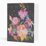 Modern Watercolor Floral And Gold Geometric Cubes. Mini Binder at Zazzle