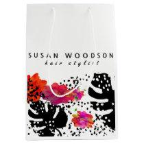 Modern Watercolor Floral Bold Monstera Pattern Medium Gift Bag