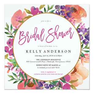 Modern Watercolor Fl Bridal Shower Invitation