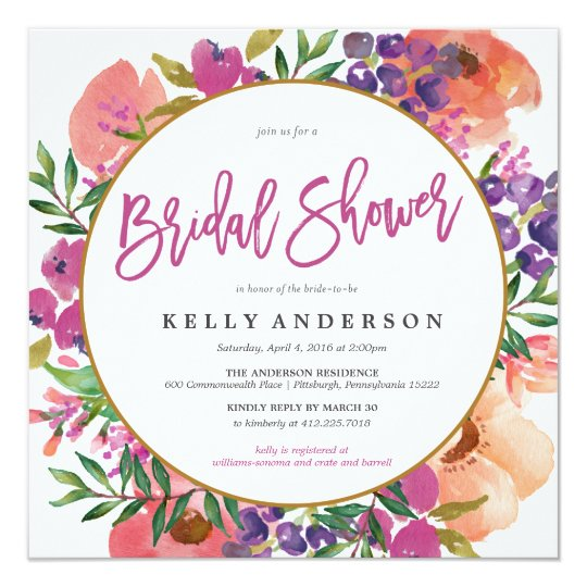 Modern watercolor floral bridal shower invitation zazzle modern watercolor floral bridal shower invitation filmwisefo