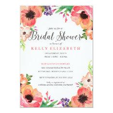 Modern Watercolor Floral Bridal Shower Invitation at Zazzle
