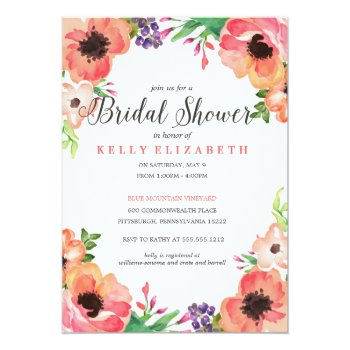 Modern Watercolor Floral Bridal Shower Invitation by blush_printables at Zazzle