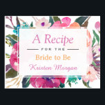 "Modern Watercolor Floral Bridal Shower Recipe Postcard<br><div class=""desc"">================= ABOUT THIS DESIGN ================= Modern Watercolor Floral Bridal Shower Recipe Card. (1) For further customization, please click the &quot;Customize&quot; button and use our design tool to modify this template. All text style, colors, sizes can be modified to fit your needs. (2) If you need help or matching items, please...</div>"