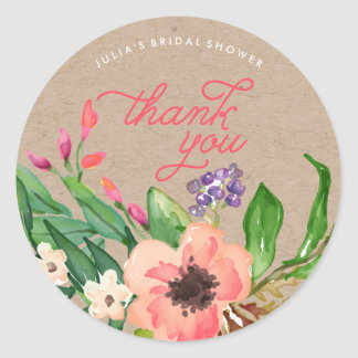 Modern Watercolor Floral Bridal Shower Stickers