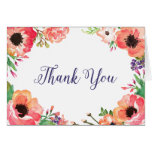 MODERN WATERCOLOR FLORAL bridal thank you card