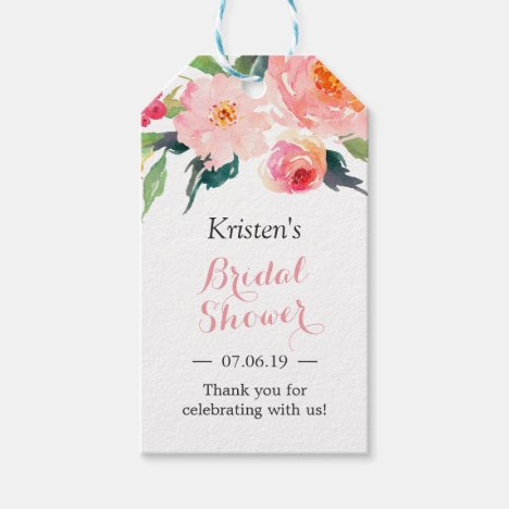 Modern Watercolor Floral Decor Bridal Shower Favor Gift Tags