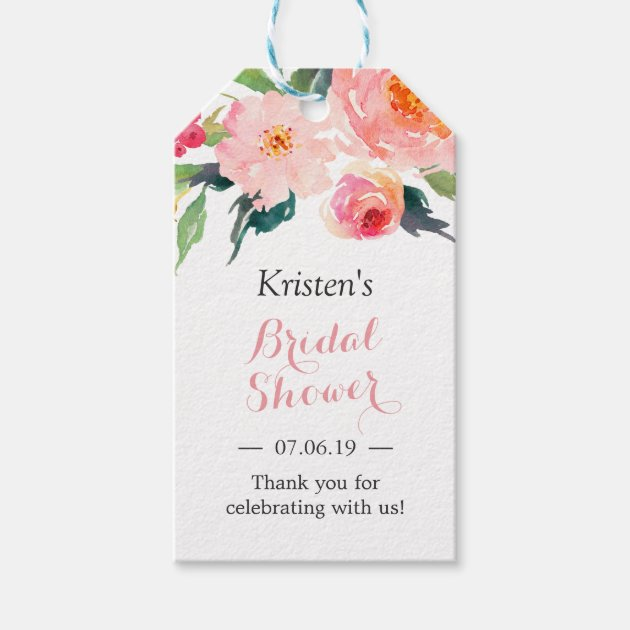 Modern Watercolor Floral Decor Bridal Shower Favor Gift Tags ...