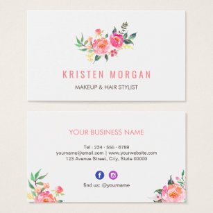 Facebook business cards templates zazzle modern watercolor floral facebook instagram icon business card reheart Images