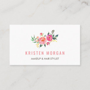 Facebook business cards zazzle modern watercolor floral facebook instagram icon business card colourmoves