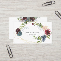 Modern Watercolor Floral Geometric Business Card