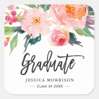Modern Watercolor Floral Graduate Graduation Favor Square Sticker