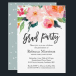 """Modern Watercolor Floral Graduation Party Card<br><div class=""""desc"""">Celebrate your graduation with this &quot;Modern Watercolor Floral Graduation Party Invitation&quot; template. It&#39;s easy to customize to be uniquely yours and send to your guests in style! (1) For further customization, please click the &quot;customize further&quot; link and use our design tool to modify this template. (2) If you prefer Thicker...</div>"""