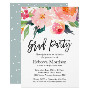 Modern Watercolor Floral Graduation Party Card at Zazzle