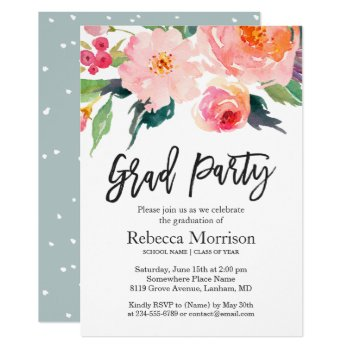 Modern Watercolor Floral Graduation Party Card by CardHunter at Zazzle