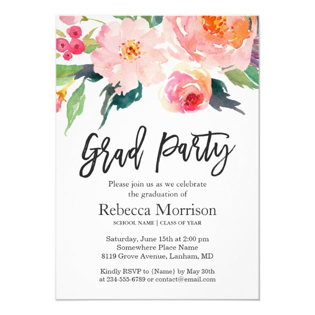 Modern Watercolor Floral Graduation Party Card (back side)
