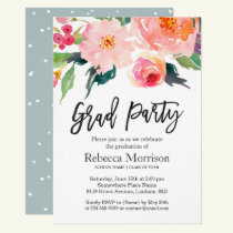 Modern Watercolor Floral Graduation Party Invitation