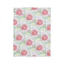 Modern Watercolor Floral Pattern Fleece Blanket