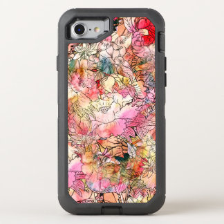 Modern watercolor floral pattern illustration OtterBox defender iPhone 8/7 case