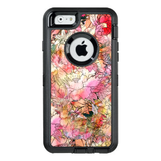 Modern watercolor floral pattern illustration OtterBox defender iPhone case