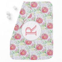 Modern Watercolor Floral Pattern Stroller Blanket