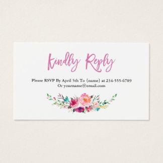 Modern Watercolor Floral RSVP Insert Card