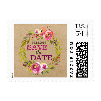 Modern Watercolor Floral Save the Date Postage