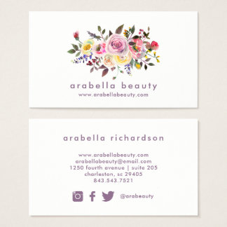 Modern Watercolor Floral | Social Media Icons Business Card