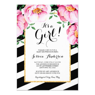 Modern Watercolor Floral Stripes Girl Baby Shower Card