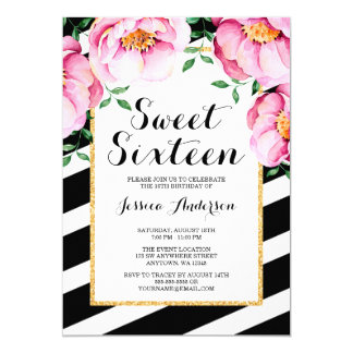 Modern Watercolor Floral Stripes Sweet 16 Card