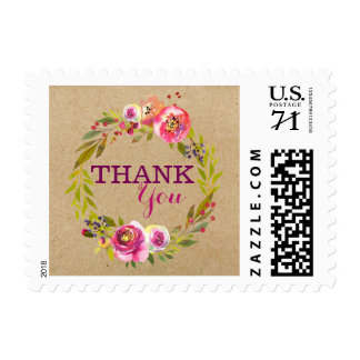 Modern Watercolor Floral Thank You Postage