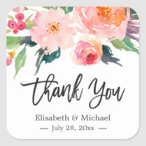 Modern Watercolor Floral Thank You Wedding Favor Square Sticker
