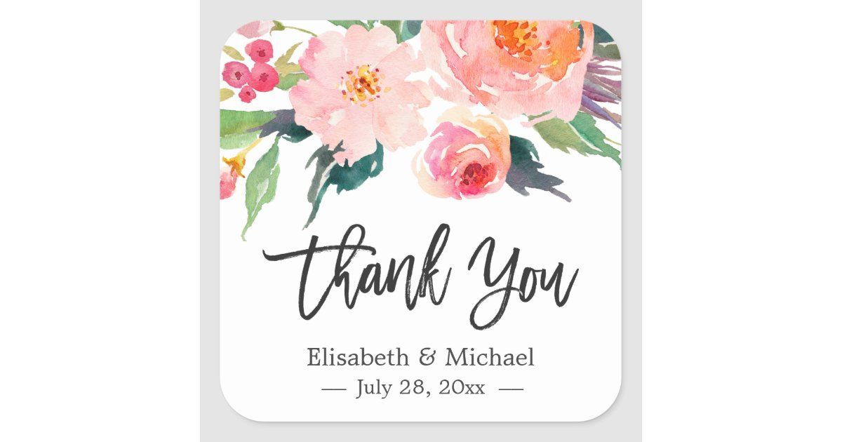 Modern Watercolor Fl Thank You Wedding Favor Square Sticker