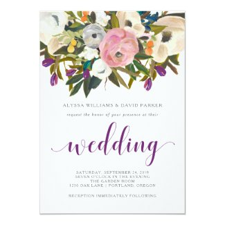 Modern Watercolor Floral Wedding Card