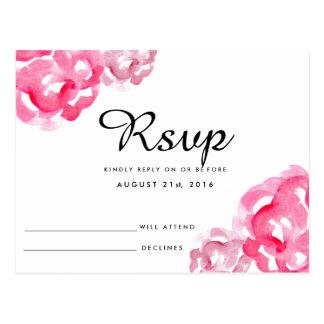 Modern Watercolor Floral Wedding RSVP Card
