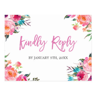 Modern Watercolor Floral Wedding RSVP Reply Postcard