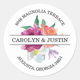 Modern Watercolor Flowers Address Label