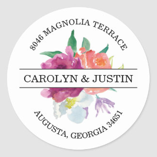 Modern Watercolor Flowers Address Label Classic Round Sticker