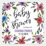 Modern Watercolor Flowers Baby Shower Handwritten Square Sticker