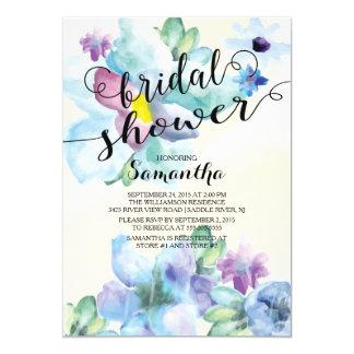 Modern Watercolor Flowers Bridal Shower Invitation