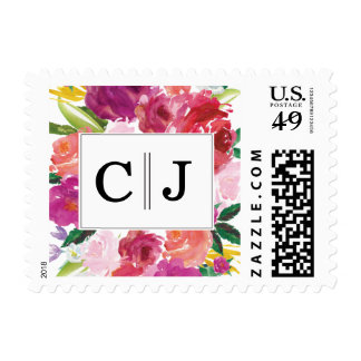 Modern Watercolor Flowers Monogram Postage