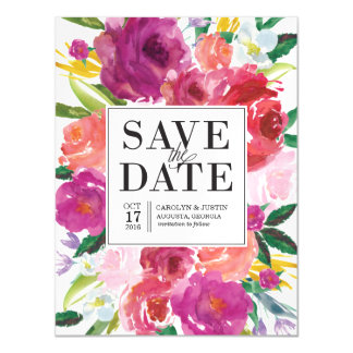 Modern Watercolor Flowers Save the Date Magnet