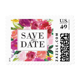 Modern Watercolor Flowers Save the Date Postage