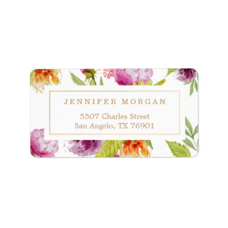 Modern Watercolor Flowers Stylish and Classy Label