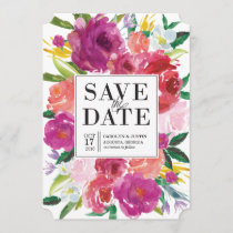 Modern Watercolor Flowers Wedding Save the Date
