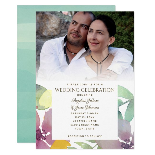 Modern Watercolor Giant Flowers Photo Wedding Invitation
