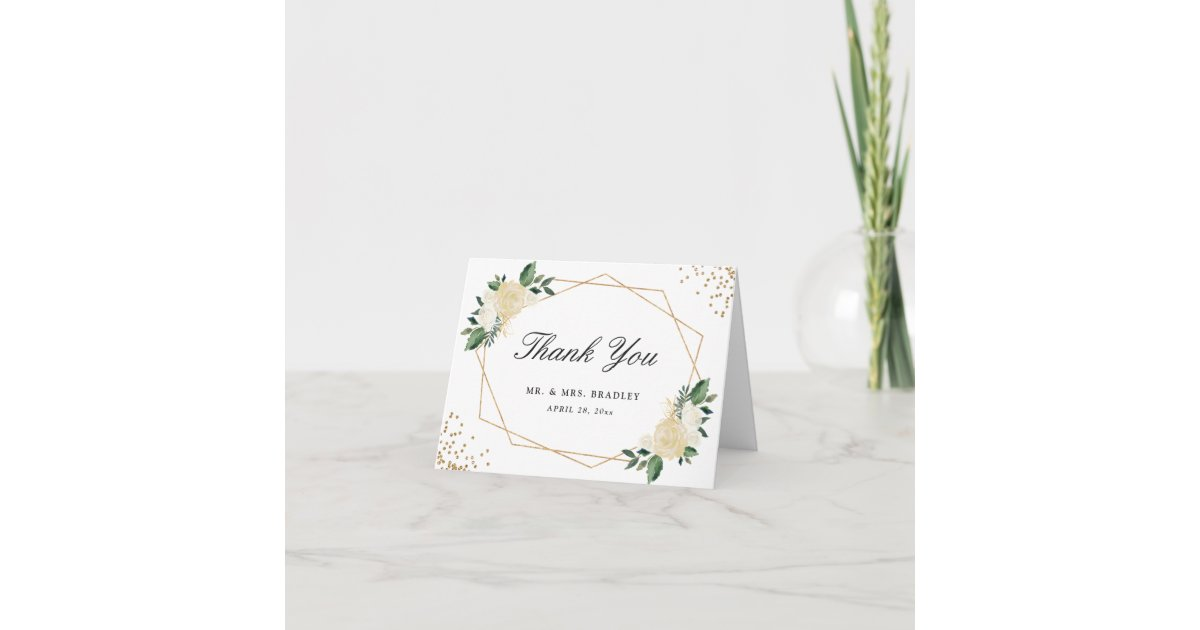 Modern Watercolor Gold Green Floral Thank You Zazzle