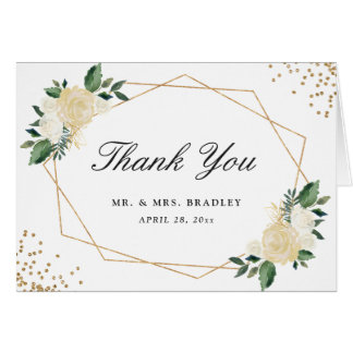 Modern Watercolor Gold Green Floral Thank You Card