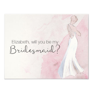 "Modern Watercolor Gown ""Will you be my bridesmaid"" Card"