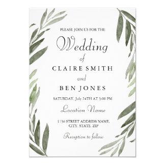 Modern Watercolor Green Leaf Wedding Invitation
